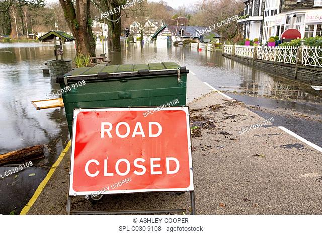 Waterhead, Cumbria, UK, submerged by flood water after Lake Windermere burst its banks on 6th December 2015, after torrential rain from storm Desmond