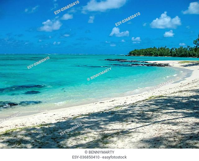 The spectacular and idyllic white beach of Deer Island near Bellemare, located on the east coast of Mauritius, one of the main attractions