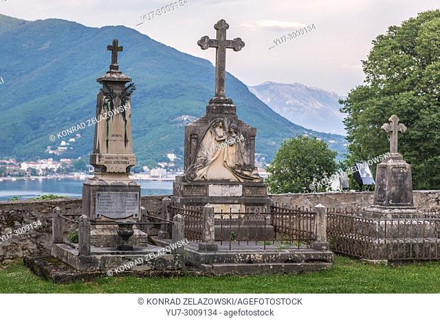 Old cemetery in Savina Monastery in Savinska Dubrava forest complex of Herceg Novi city on the Adriatic Sea coast in Montenegro