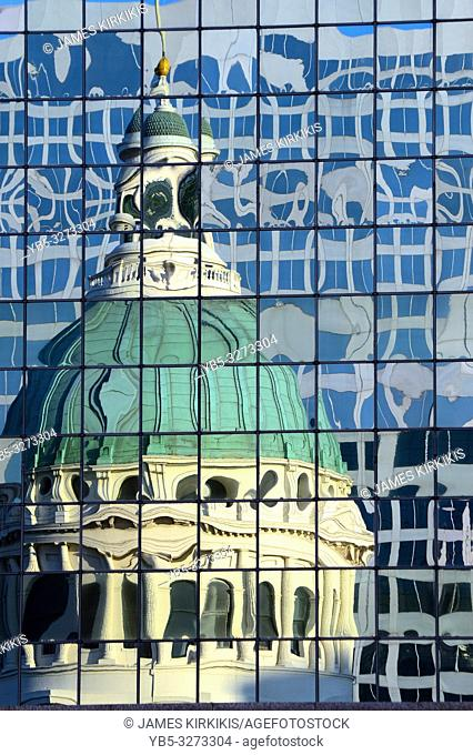 Abstract reflections of the historic Old Courthouse in St Louis, Missouri
