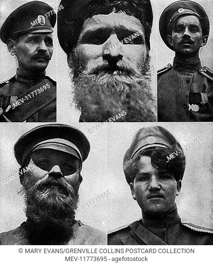 Five types of Russian soldier who fought in the First World War, a mixture of educated (1 and 3), Moujik or peasant (2), Bolshevik (4) and Cossack (5)
