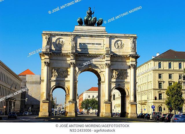 The Siegestor, Triumphal Arch, Victory Gate, Munich. Bavaria. Germany