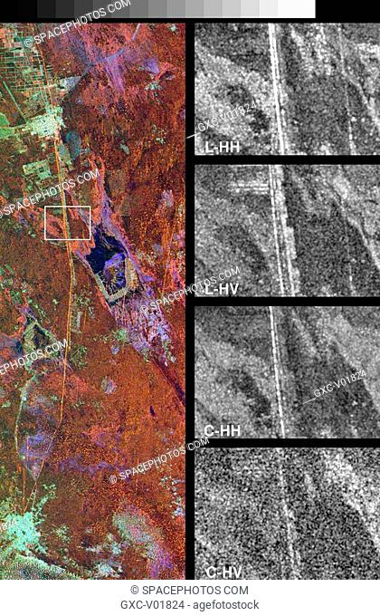These spaceborne radar images show a segment of the Great Wall of China in a desert region of north-central China, about 700 kilometers 434 miles west of...