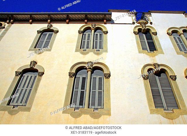 modernist windows, Casa Quintana, Caldes de Malavella, Catalonia, Spain