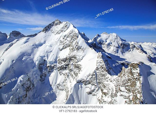 Aerial view of Biancograt in winter. Engadine, Canton of Grisons, Switzerland Europe