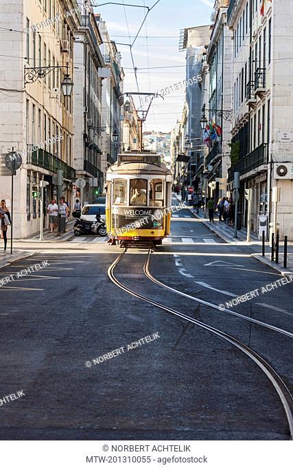 Tram in street, Rua da Prata, Lisbon, Portugal