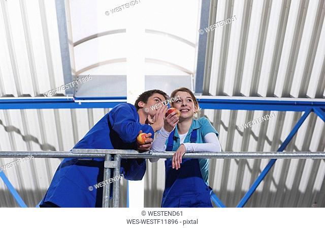 Germany, Neukirch, Two Apprentices having a break