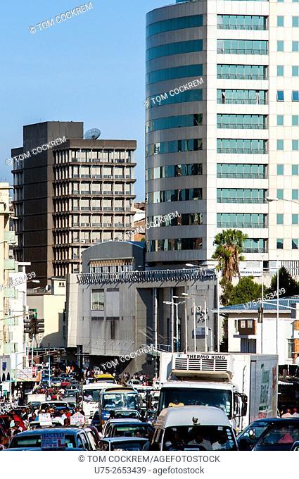 Jason Moyo Avenue looking east with Joina City building, CBD, Harare, Zimbabwe