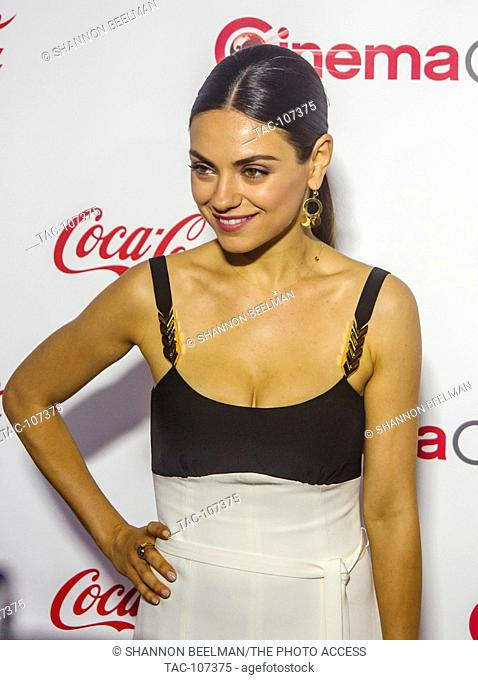 Mila Kunis, one Female Star of the Year, on the red carpet before the CinemaCon Big Screen Achievement Awards at OMNIA Night Club in Caesars Palace on March...