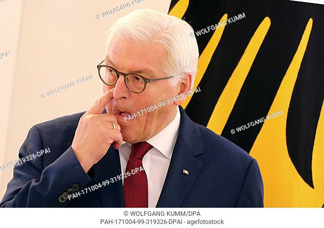 German President Frank-Walter Steinmeier pictured at an event where he presented the Order of Merit of the Federal Republic of Germany at Schloss Bellevue in...