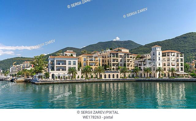 Embankment of Tivat city, Montenegro, in a sunny summer day. The beginning of the cruise on the Bay of Kotor
