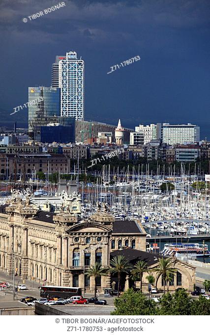 Spain, Catalonia, Barcelona, skyline, general view, Port Vell