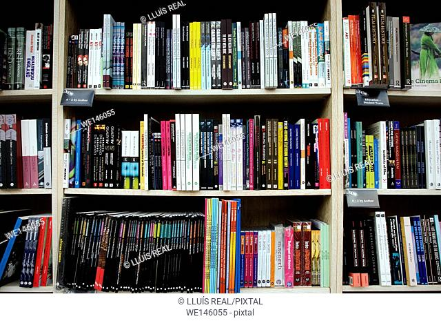 Shelves full of books in a book shop , England
