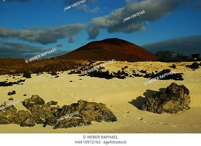 Ascension, Ascension Island, coast, sand beach, volcano, mountain, red, clouds, evening, rock, cliff