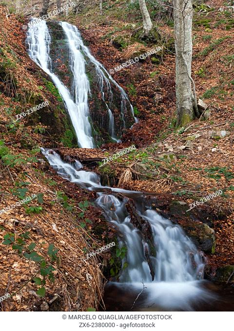Marianegre stream waterfalls. There are several subsequent cascades along the stream, which appears just beneath the steep slope of Les Agudes Peak