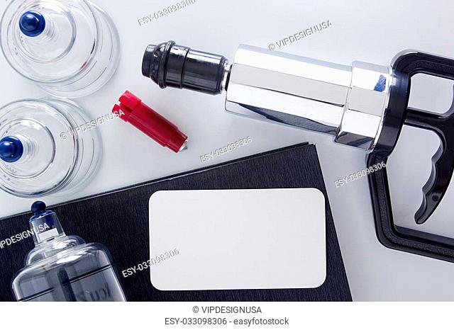 Medical set of glass jars and piston vacuum massage