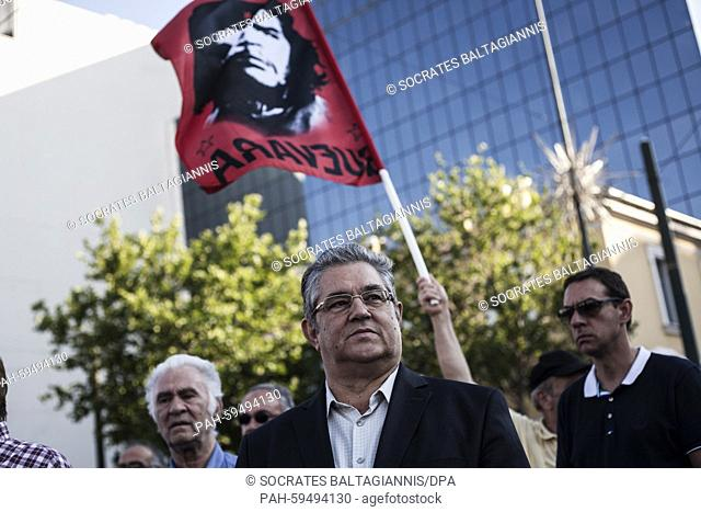 Dimitris Koutsoumpas, General Secretary of the Communist Party of Greece participates in an anti-austerity protest organized by pensioners unions in Athens