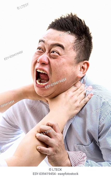 Stress Asian man in shirt suffocated with isolated white background