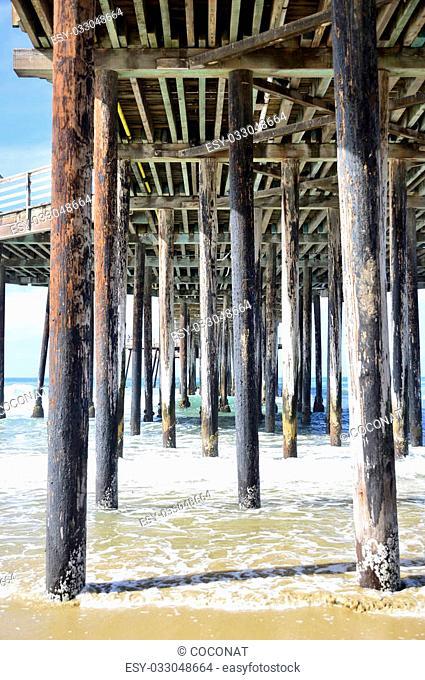 Pismo Beach Pier large wooden oceanfront in California