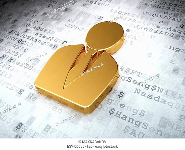 News concept: Golden Business Man on digital background, 3d render