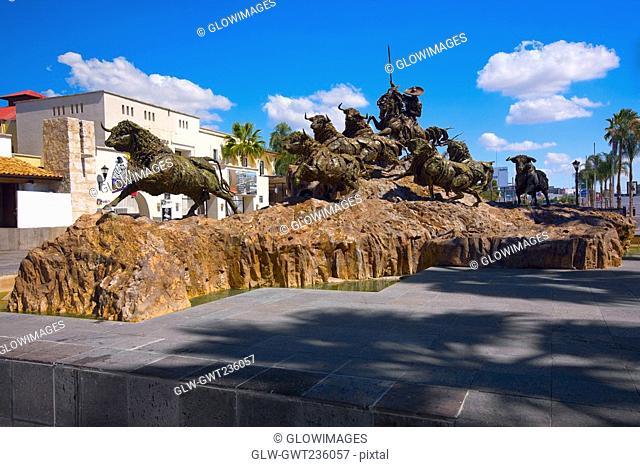Bull statues at a monument, Monumento al Encierro. Aguascalientes, Mexico