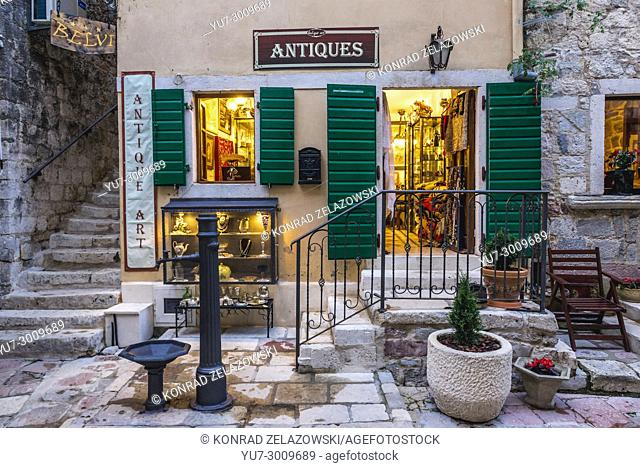 Antique shop on the Old Town of Kotor coastal city, located in Bay of Kotor of Adriatic Sea, Montenegro