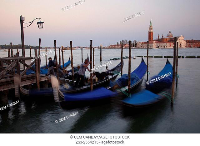 Gondolas on the Grand Canal with the San Giorgio Maggiore Church at the background, Piazza San Marco, Venice, Veneto, Italy, Europe