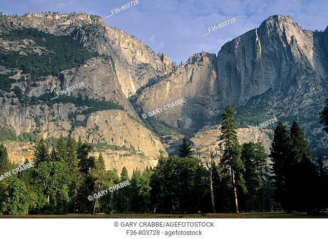 A dry Yosemite Falls in Yosemite Valley, Yosemite National Park, California