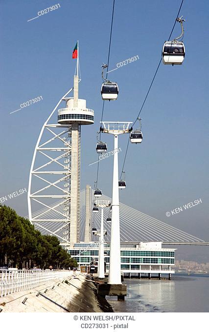 Vasco da Gama tower & bridge and cable cars, Lisbon. Portugal