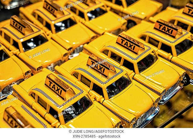 Miniature Old New York City Checker Taxi Cabs, on Display in a Manhattan Tourist Souvenir Shop