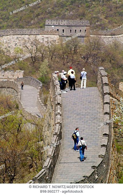 Tourists exploring Great Wall. China