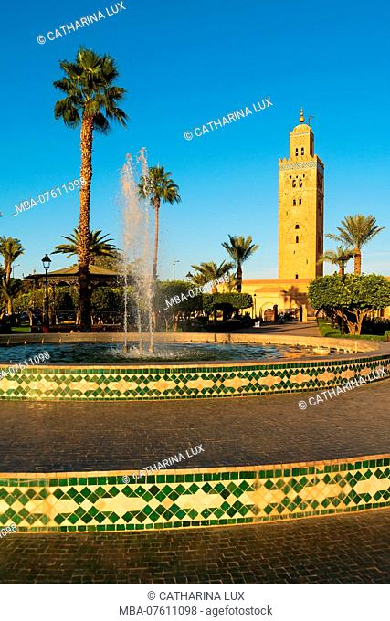 Morocco, Marrakech, Koutoubia Mosque, Park, Fountain