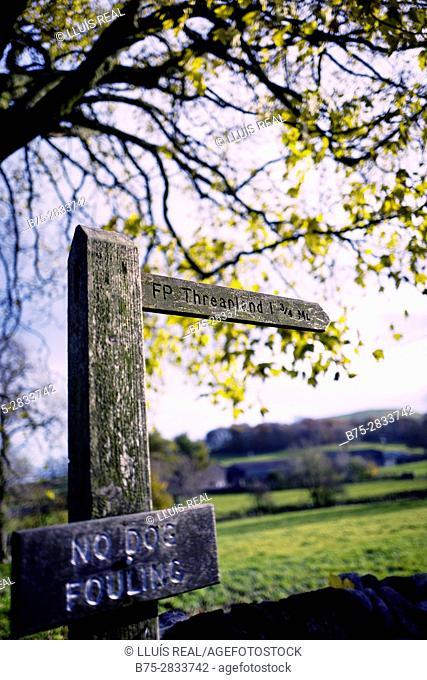 Closeup of signpost, FP ' Threapland' Linton, Grassington, Yorkshire Dales, North Yorkshire, Skipton, UK