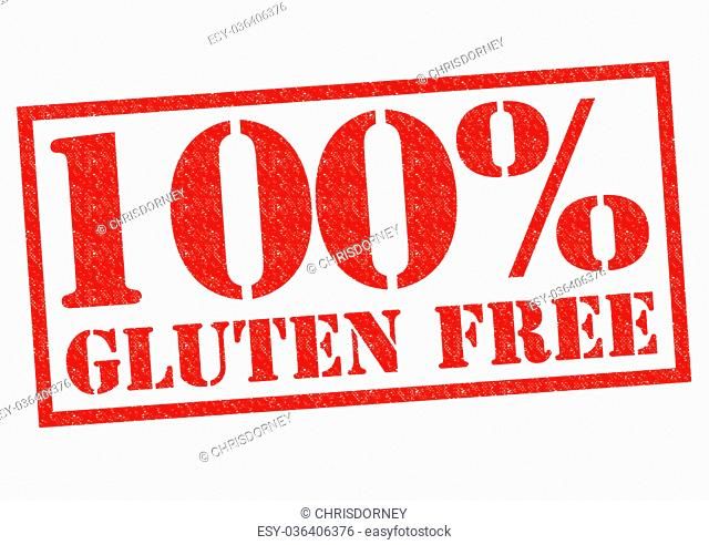 100% GLUTEN FREE red Rubber Stamp over a white background