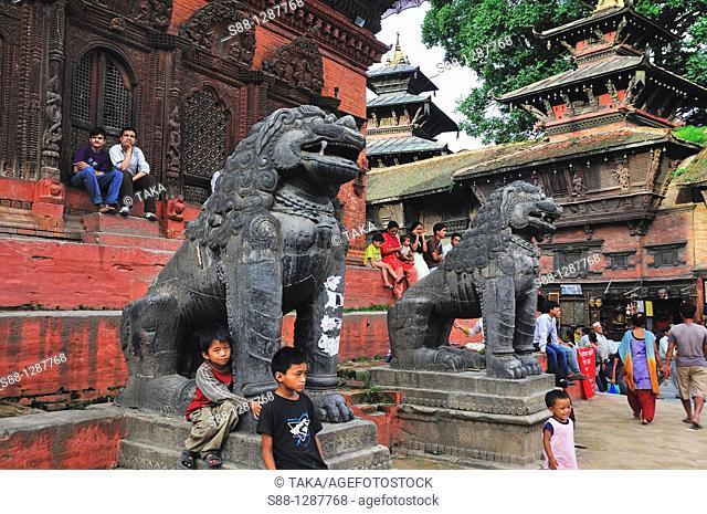 At the front of Shiva Parvati temple atDurbar Square