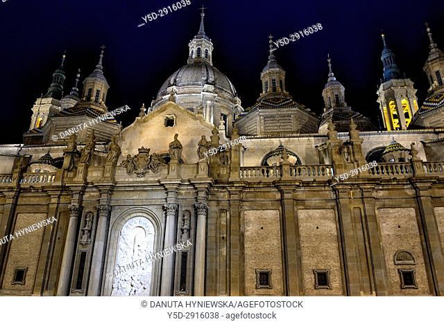 Catedral-basílica de Nuestra Señora del Pilar de Zaragoza, Cathedral-Basilica of Our Lady of the Pillar, Zaragoza, Aragón, Spain, Europe