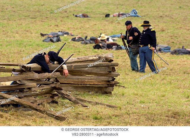 Union soldier casualty after battle re-enactment, Civil War Reenactment, Willamette Mission State Park, Oregon