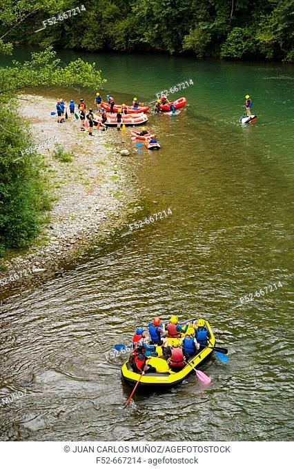 France. Pyrenees Mountains. Aspe Valley. Arac River. White water rafting