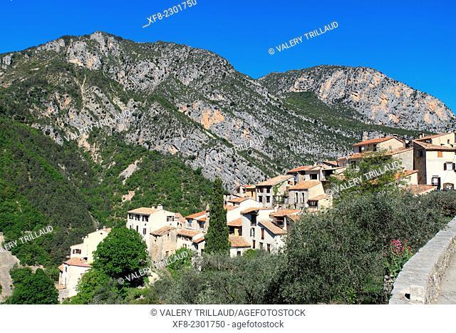 The village of Aiglun in the Esteron Valley, Prealpes d'Azur regional park, Alpes-Maritimes, Provence-Alpes-Côte d'Azur, France