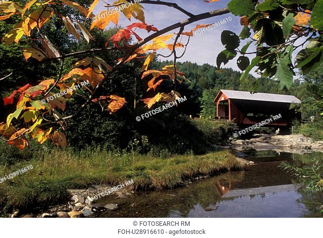 covered bridge, wooden bridge, fall, Vermont, Colorful maple leaves frame the Upper Covered Bridge which crosses the Cox Brook in Northfield Falls in Washington...