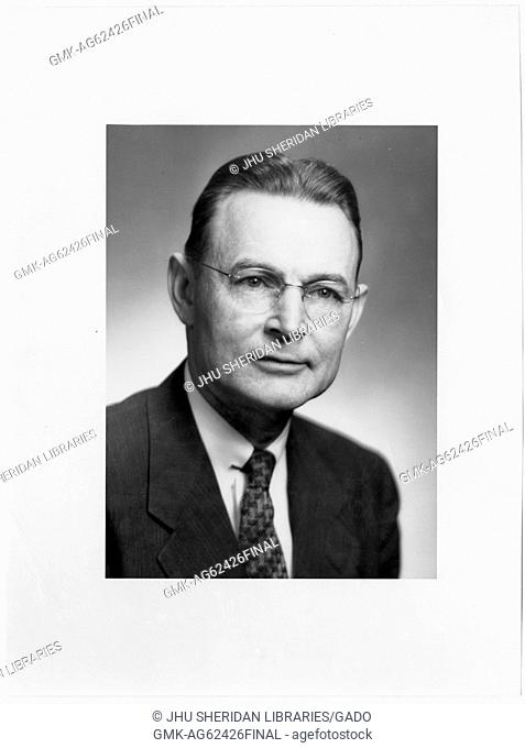 Alfred Huntington Burnham, Jr Portrait photograph, Chest up, Full face, c 55 years of age, 1950