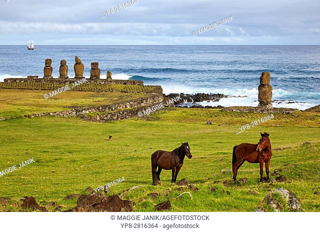 Ahu Tahai and Ahu Vai Uri with horses in the foreground, Easter Island, Chile