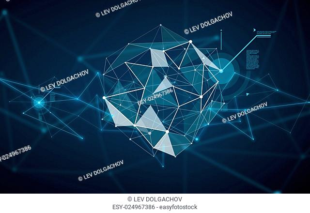 technology, cyberspace and virtual reality concept - illustration of low poly hologram over dark background