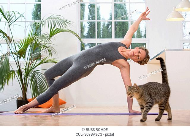 Woman at home, doing yoga, in yoga position, pet cat wondering nearby