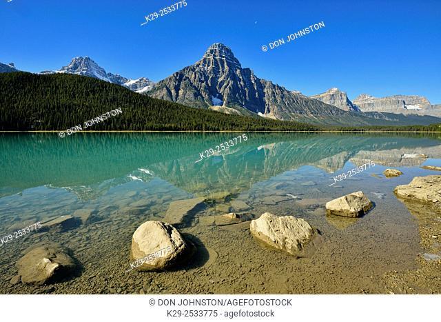 Mt. Chephren reflections in Waterfowl Lake, Banff National Park, Alberta, Canada