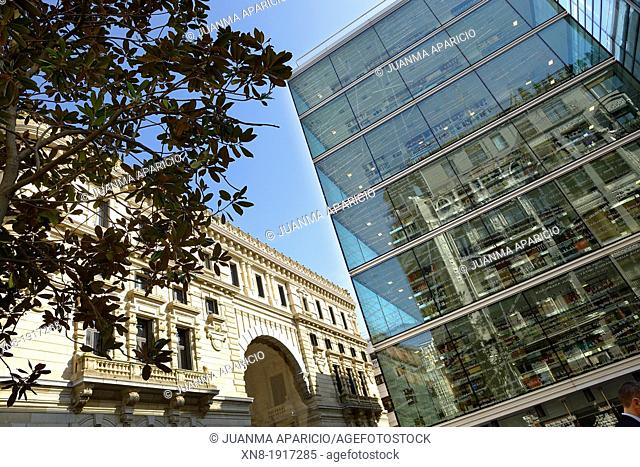 Foral Palace and Foral Library, ancient and modern buildings in Bilbao, Biscay, Basque Country, Spain