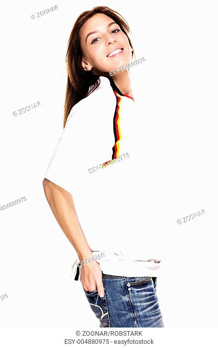 happy beautiful woman wearing football shirt with