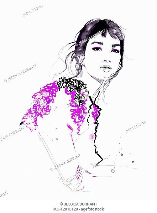 Fashion illustration of beautiful woman looking at camera wearing ruffled top