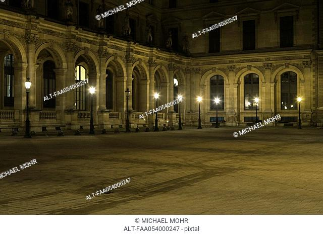 France, Paris, courtyard of The Louvre at night