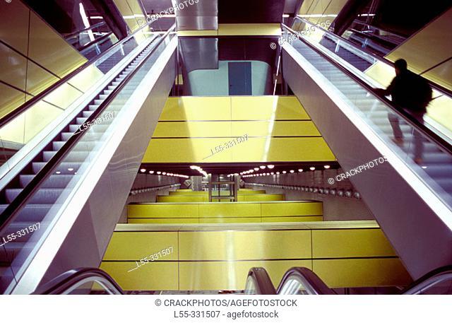 Escalators of subway station by architect Santiago Calatrava. Valencia. Spain